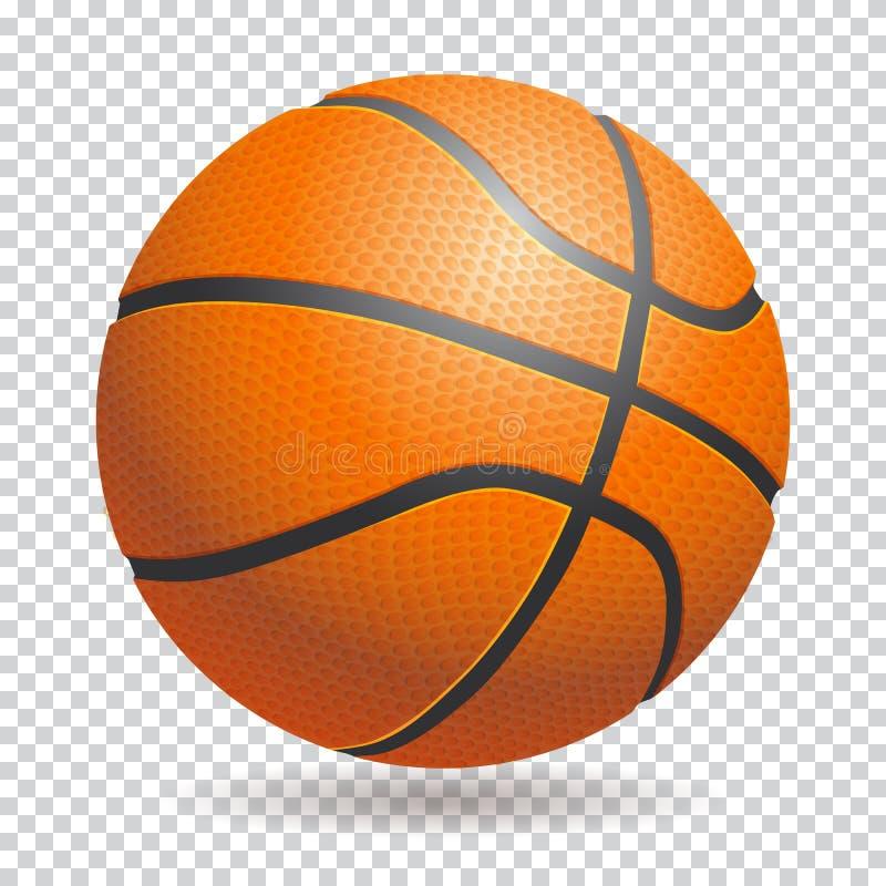 Boule de basket-ball du vecteur 3d sur le fond transparent Re photos stock