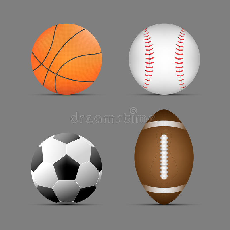 Boule de basket-ball, le football/ballon de football, boule de rugby/football américain, boule de base-ball avec le fond gris Ens illustration libre de droits