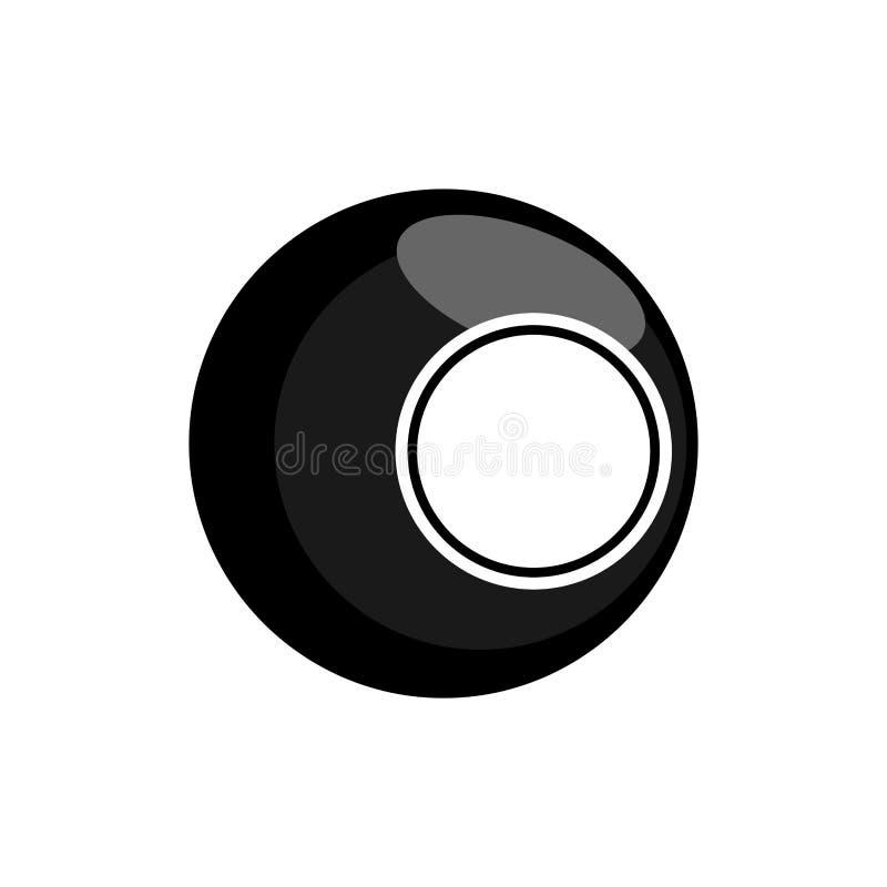 Boule de billard noire d'isolement Vecteur d'illustration de billards illustration stock