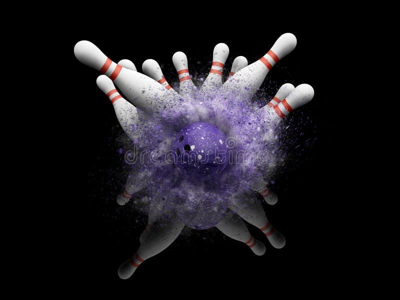 boule de bowling 3D heurtant contre des quilles illustration de vecteur