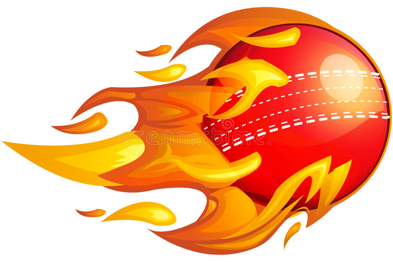 Boule de cricket sur le feu illustration libre de droits