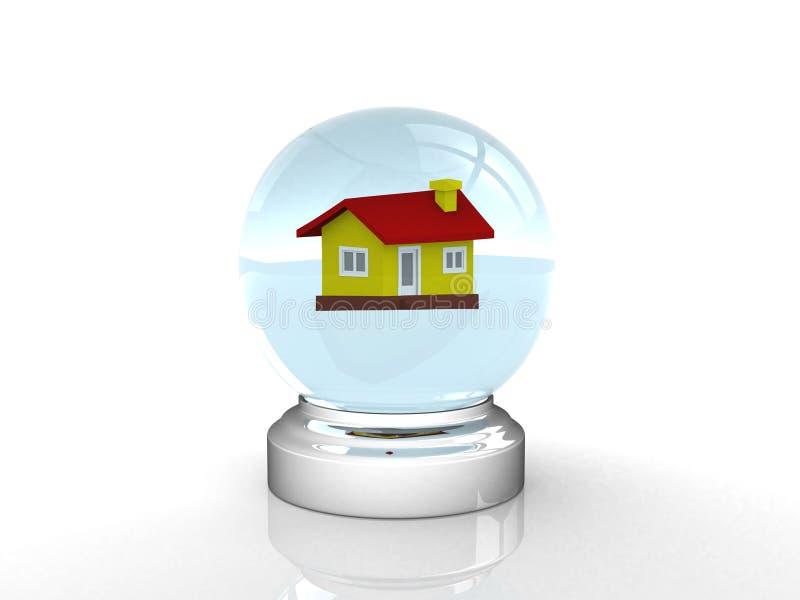 Boule de cristal et maison illustration libre de droits