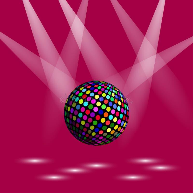 Boule de disco de mosaïque Sphère de miroir sur le fond foncé illustration de vecteur