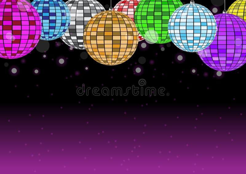 Boule de disco sur l'illustration rose foncée de vecteur de fond illustration libre de droits