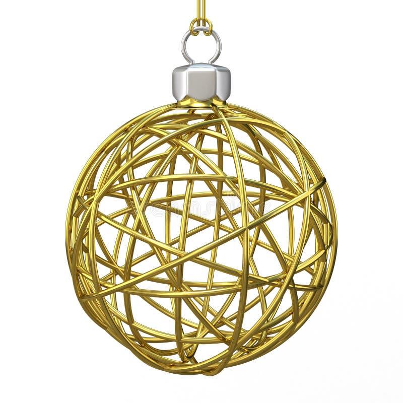 Boule de fil de Noël d'or 3d rendent illustration stock