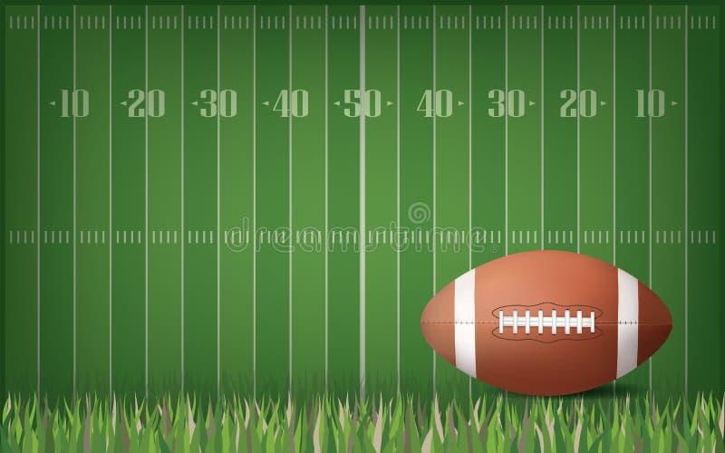 Boule de football américain avec le fond vert de modèle de champ Vecteur illustration stock