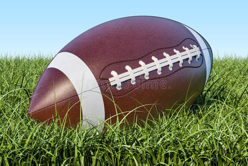Boule de football américain dans l'herbe, rendu 3D illustration stock