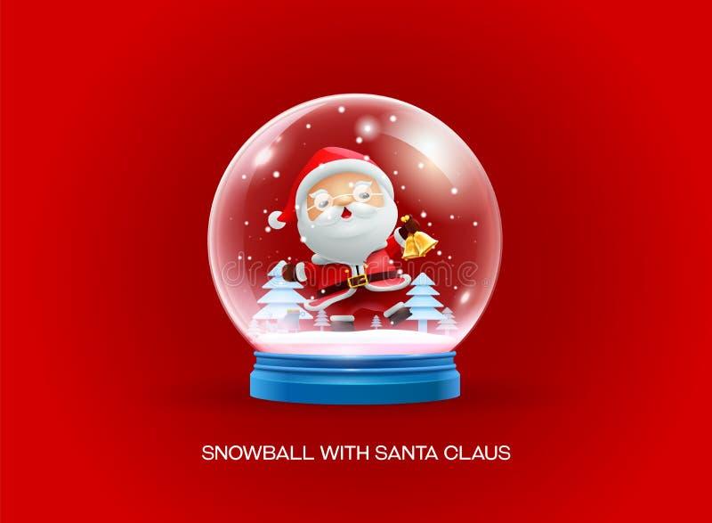 Boule de globe de neige avec la bonne année de Joyeux Noël du père noël illustration stock