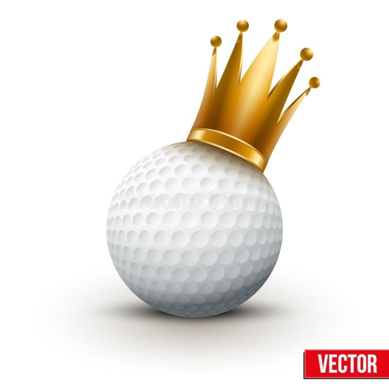 Boule de golf avec la couronne royale de reine illustration stock