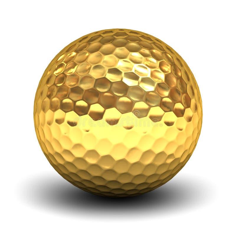 Boule de golf d'or au-dessus du fond blanc avec la réflexion illustration stock
