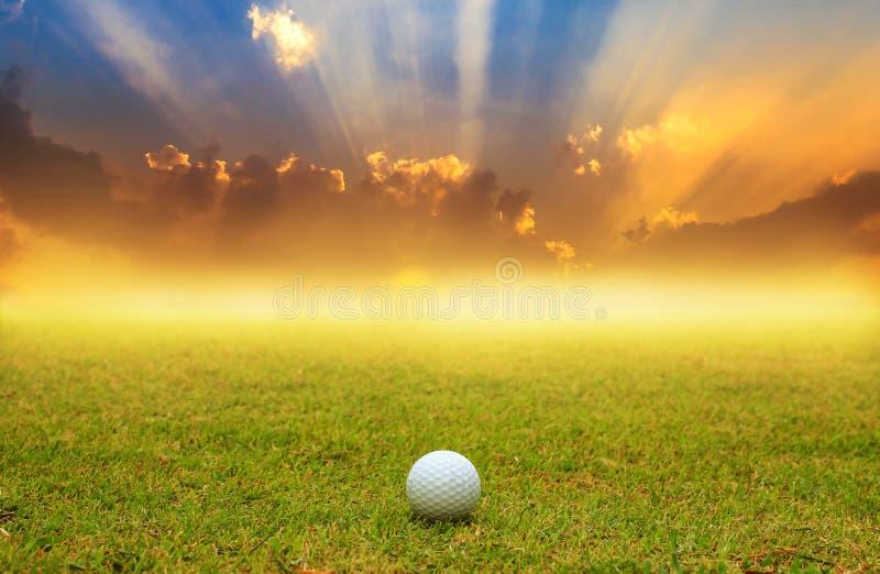 Boule de golf dans le fairway sur le fond de lever de soleil photographie stock libre de droits