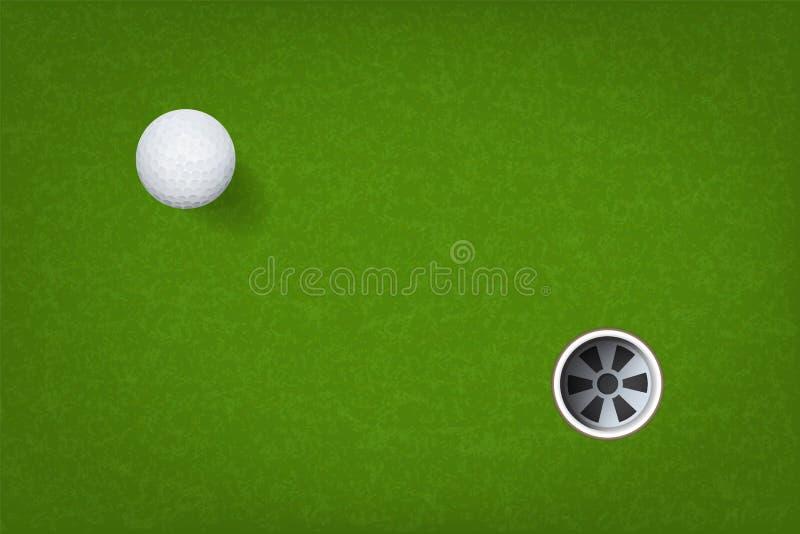 Boule de golf et trou de golf sur le fond d'herbe verte Vecteur illustration libre de droits