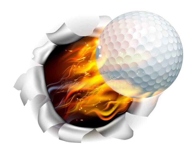 Boule de golf flamboyante déchirant un trou à l'arrière-plan illustration stock