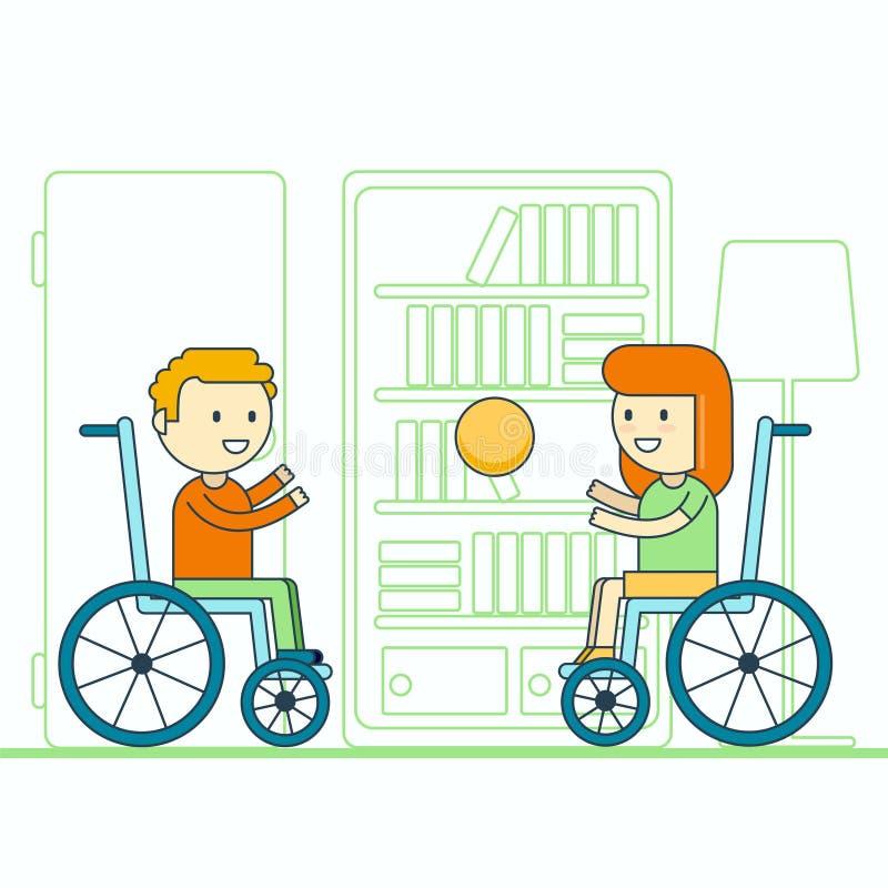Boule de lancement gaie de garçon et de fille d'utilisateur de fauteuil roulant Smili heureux illustration libre de droits