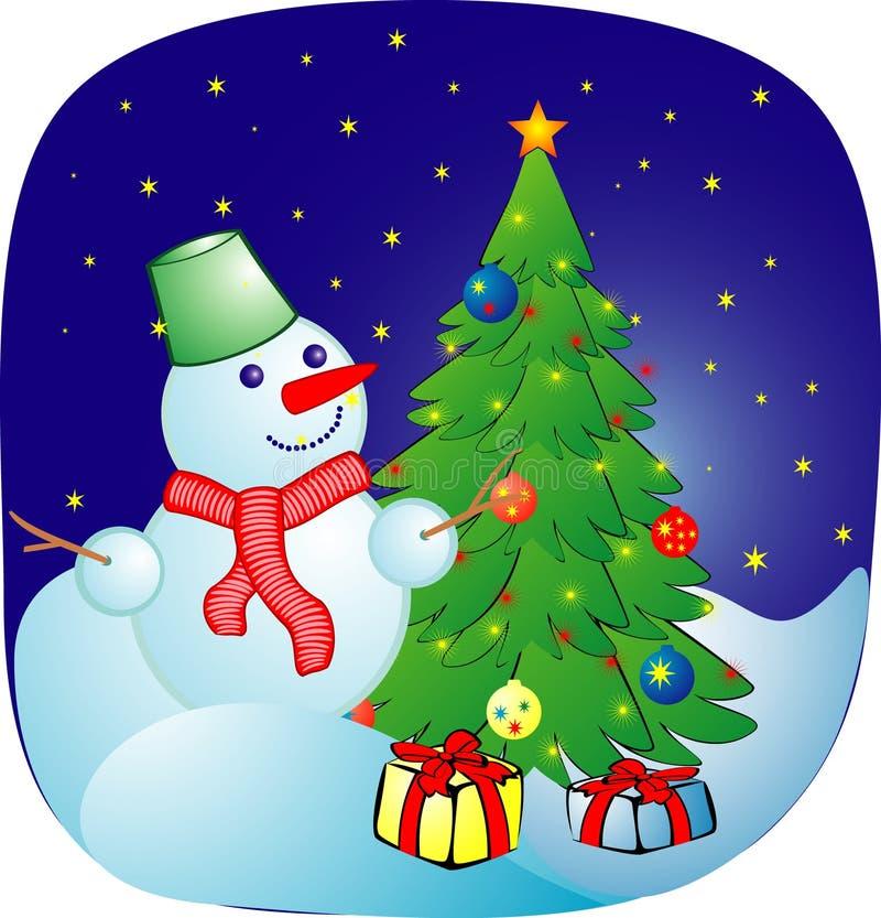Boule de neige gaie sur un fond de Noël illustration libre de droits