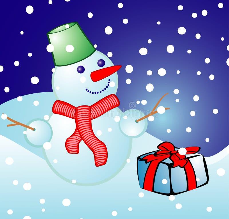 Boule de neige gaie sur un fond de Noël illustration de vecteur