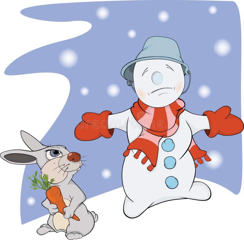 Boule de neige, lapin et un raccord en caoutchouc. Dessin animé illustration stock