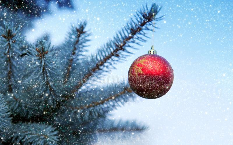 Boule de Noël accrochant sur une branche d'arbre de sapin Fond de Noël image stock