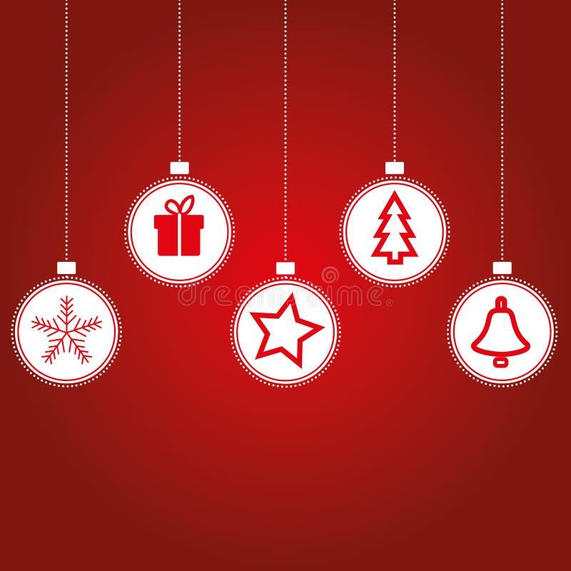 Boule de Noël avec des ornements, tels que le cadeau, flocon de neige, illustration stock