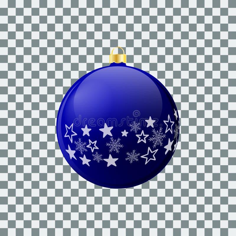 Boule de Noël - bleu - conception décorée illustration stock