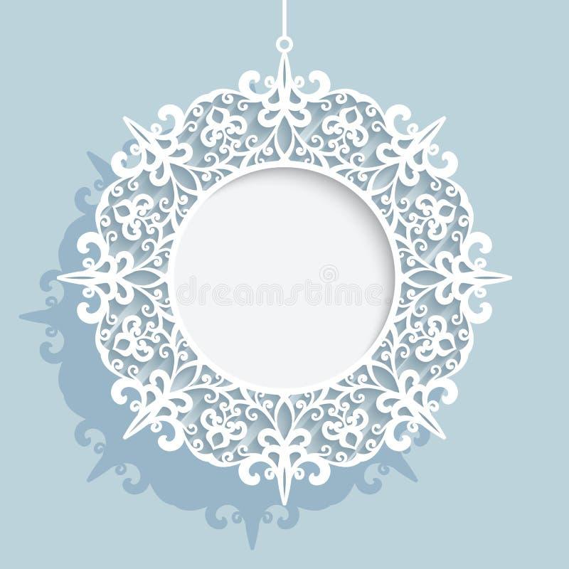 Boule de Noël, calibre rond de cadre de papier de coupe-circuit illustration de vecteur