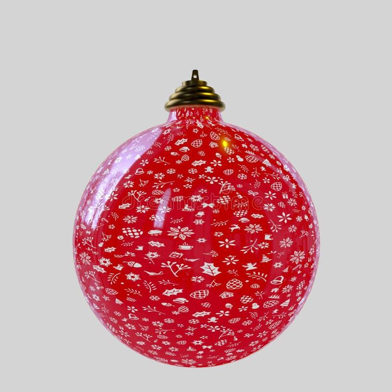 Boule de Noël, d'isolement sur le backgroung blanc illustration stock