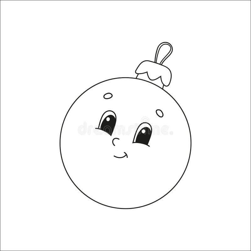 Boule de Noël Livre de coloriage pour enfants Personnage gai Illustration vectorielle Belle bande dessinée Fantasy page pour enfa illustration libre de droits