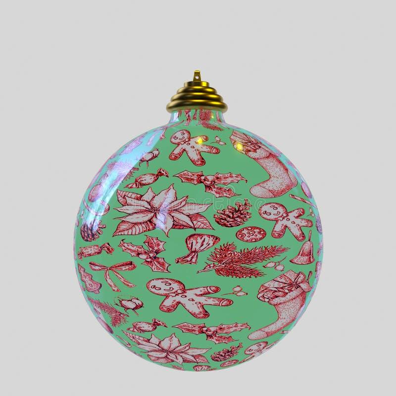 Boule de Noël, vert et rouge illustration stock