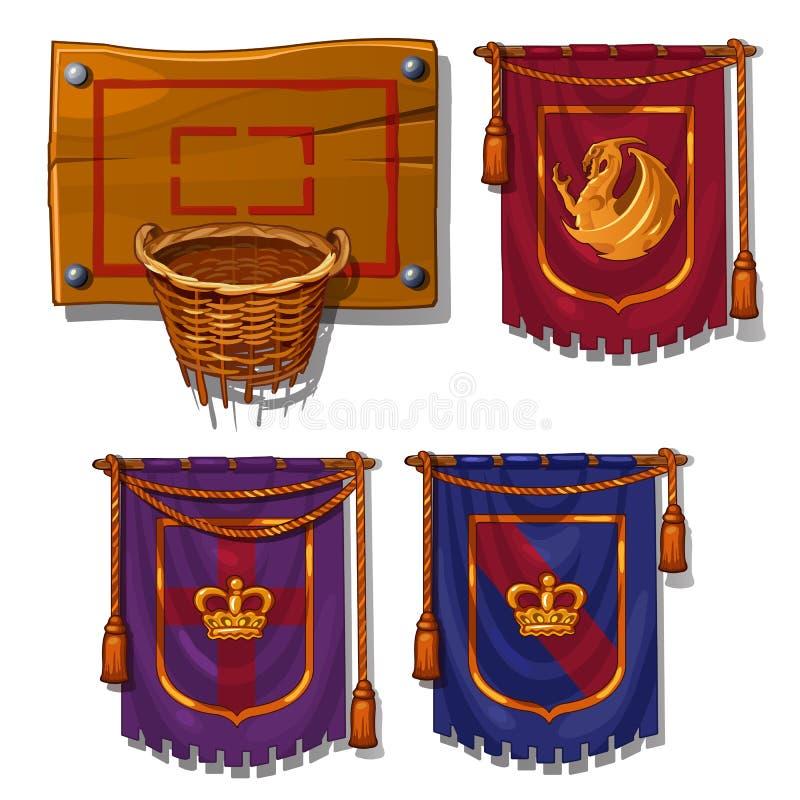 Boule de panier en osier, drapeaux avec des symboles Article de sports pour des jeux de boule et des normes royales Vecteur d'iso illustration libre de droits