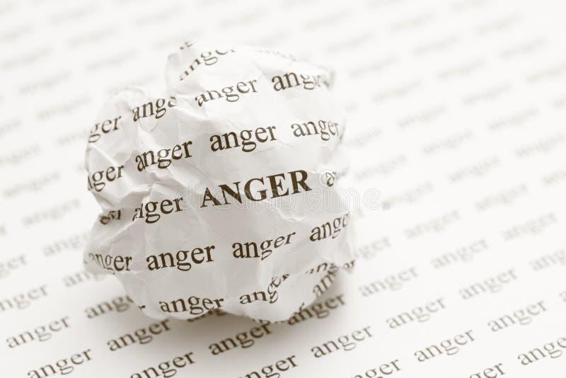 Boule de papier chiffonnée avec colère de mots photo libre de droits
