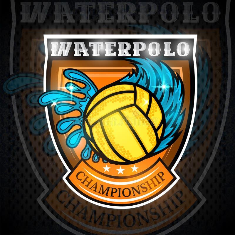 Boule de polo de l'eau entre l'éclaboussure de l'eau et la traînée de vent au centre du bouclier Logo de sport de vecteur sur le  illustration libre de droits