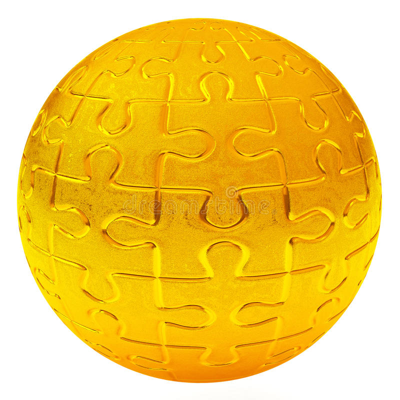 Boule de puzzle d'or, 3d illustration stock