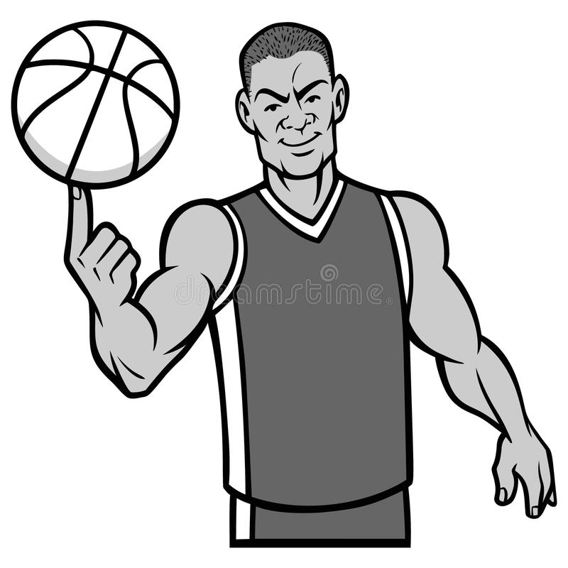 Boule de rotation de joueur de basket avec l'illustration de doigt illustration libre de droits