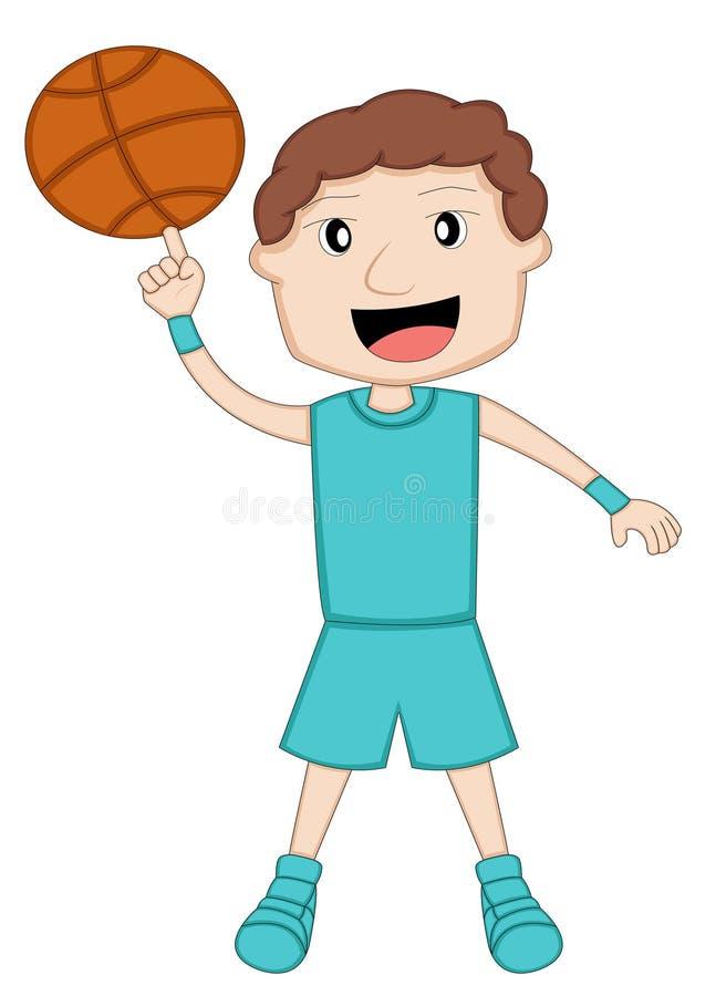 Boule de rotation de joueur de basket sur le doigt illustration de vecteur
