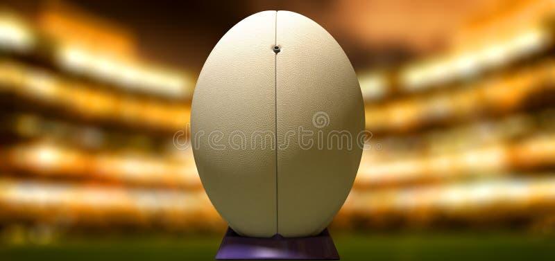 Boule de rugby dans une nuit de stade photographie stock libre de droits