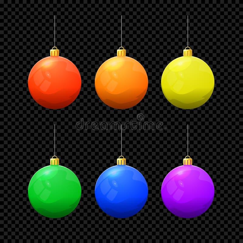 Boule de vecteur de Noël réglée sur le fond foncé illustration de vecteur