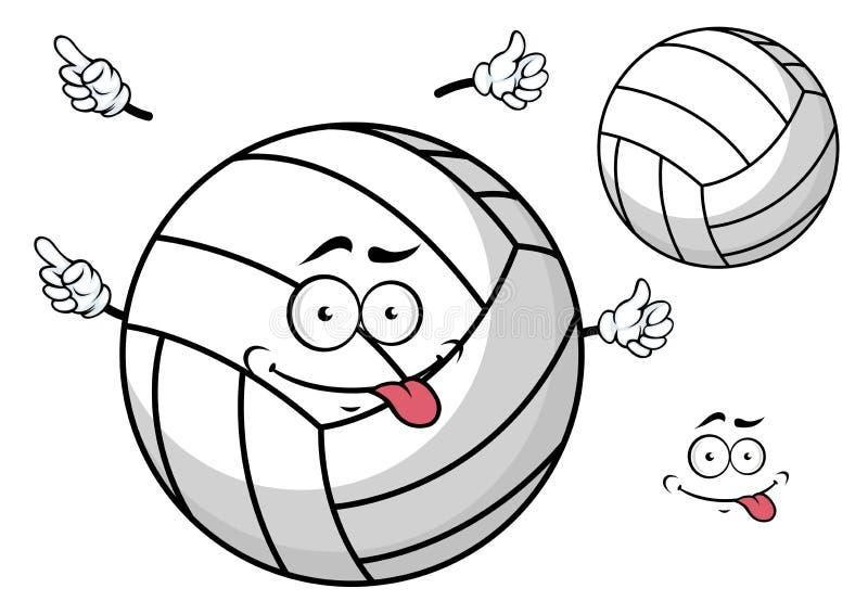 Boule de volleyball de Cartooned avec le visage et les mains mignons illustration stock