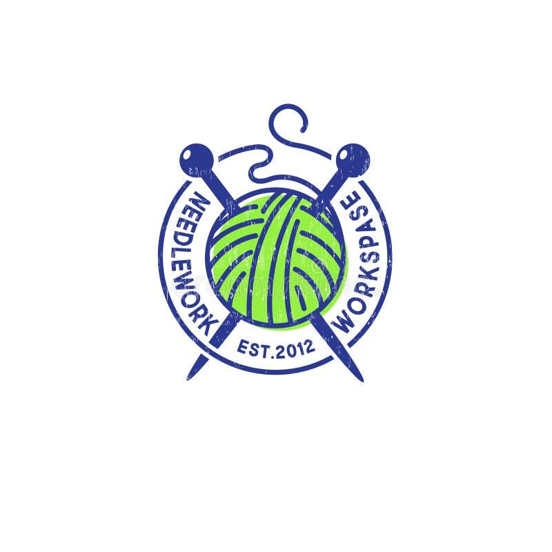 Boule des aiguilles de fil et de tricotage Logo de couture La communaut? faite main de produit illustration de vecteur