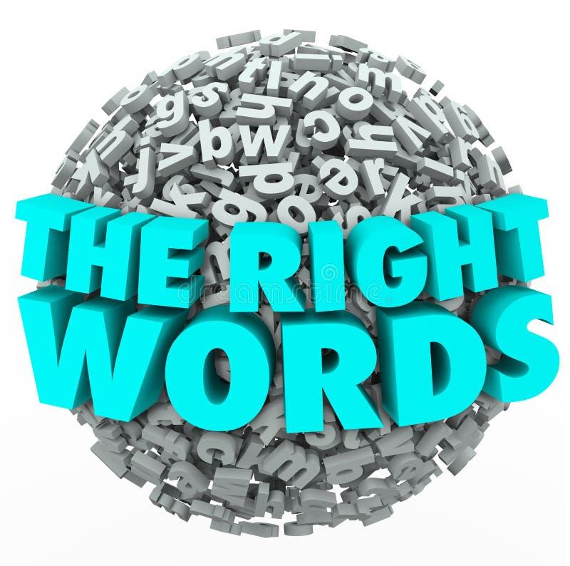 Boule droite de sphère de lettre de mots trouvant le meilleur message Communicatio illustration de vecteur