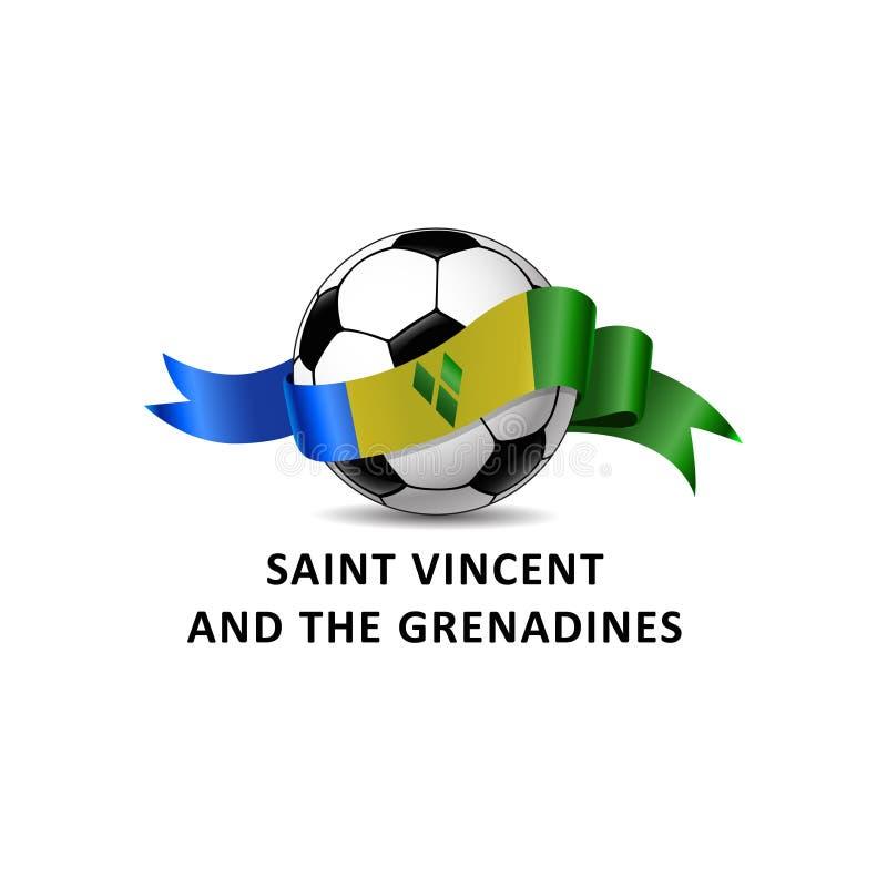 Boule du football avec la traînée colorée de drapeau national de SAINT-VINCENT-ET-LES-GRENADINES illustration de vecteur