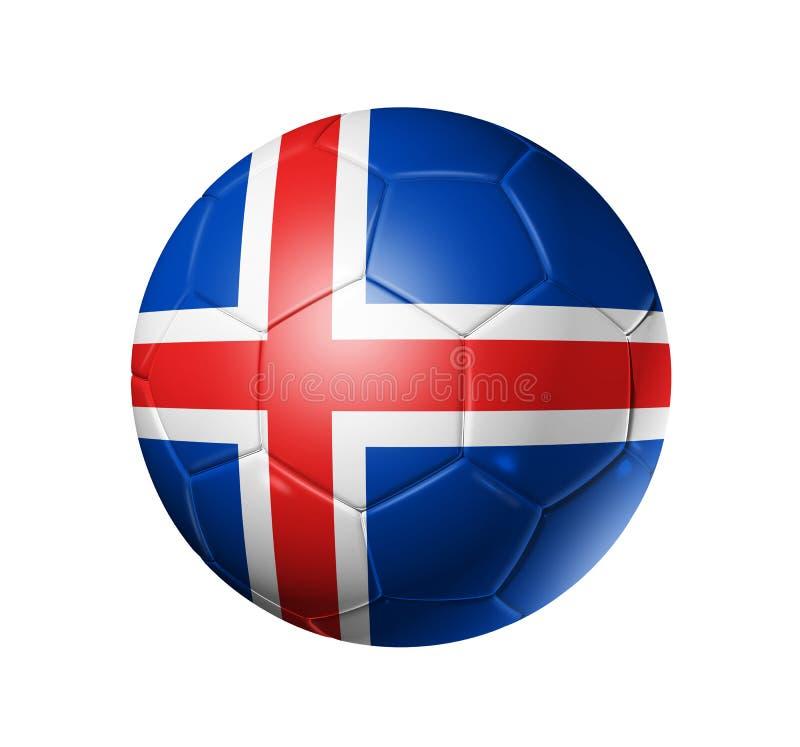 Boule du football du football avec le drapeau de l'Islande illustration stock