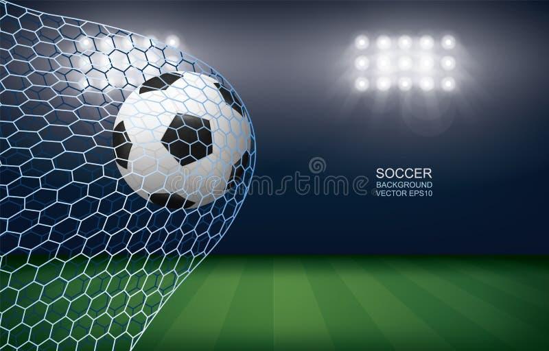 Boule du football du football dans le but du football avec le fond de stade de terrain de football illustration libre de droits