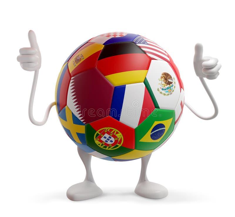 Boule du football du football de conception du Qatar avec des drapeaux du Qatar et de divers autres 3d-illustration illustration stock