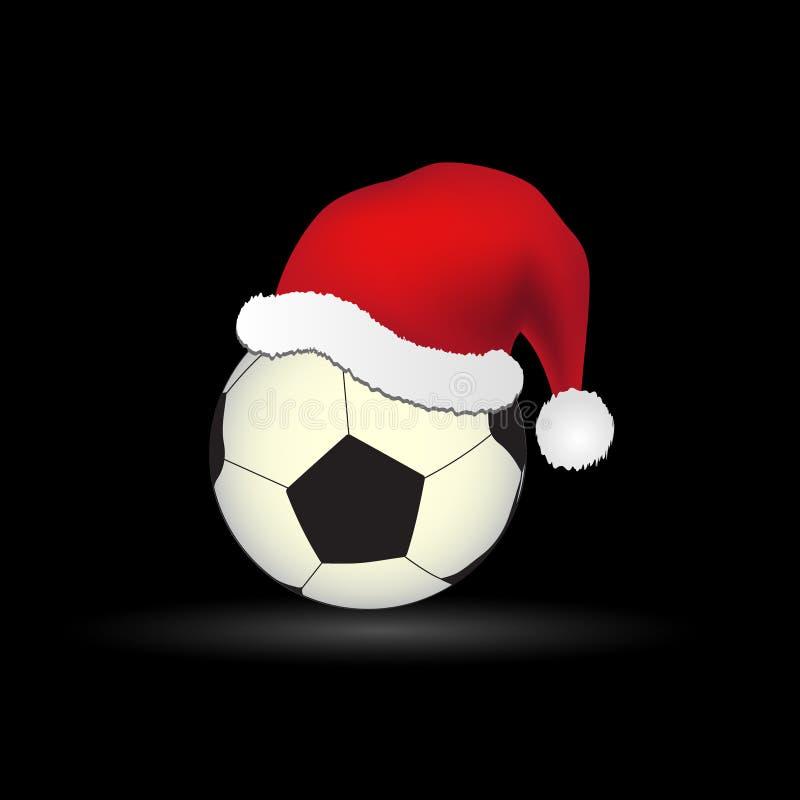 Boule du football et du football avec le chapeau rouge eps10 de Santa illustration de vecteur