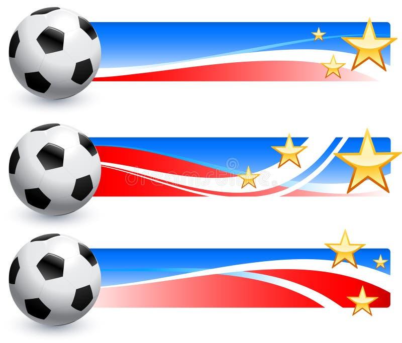 Boule du football (le football) avec les bannières américaines illustration de vecteur