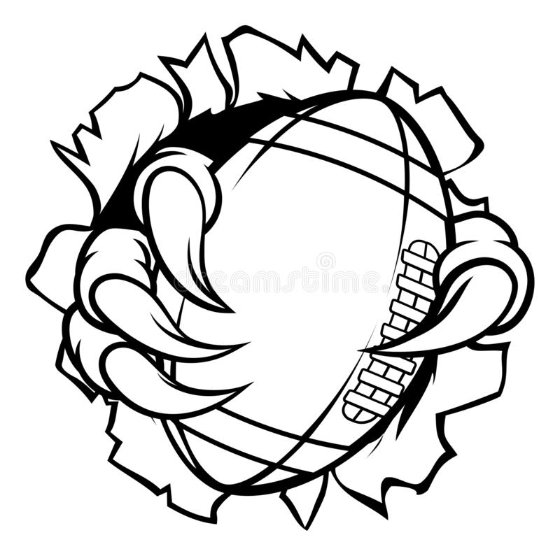 Boule Eagle Claw Talons Ripping Background du football illustration stock