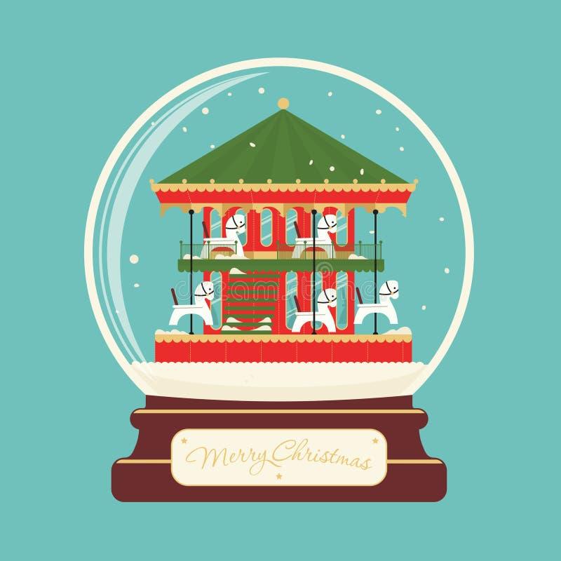 Boule en verre de Joyeux Noël avec des chevaux de carrousel photographie stock libre de droits