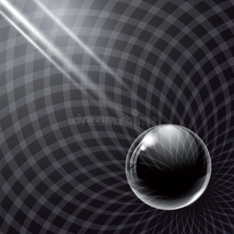 Boule en verre et rayons de lumière noirs illustration stock