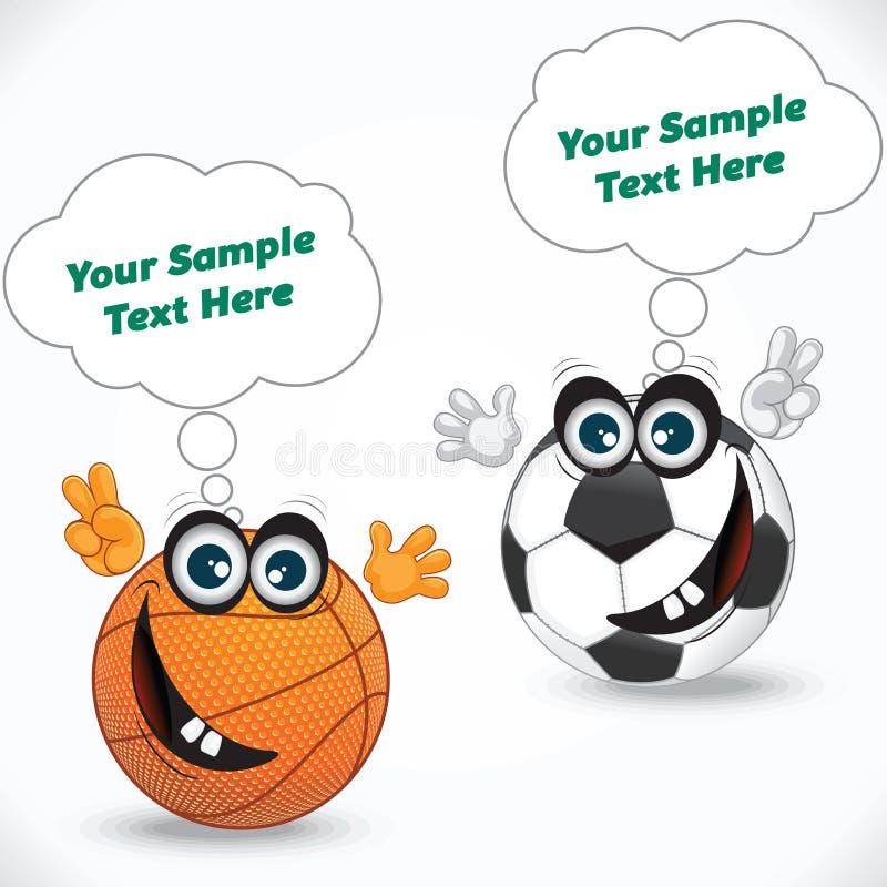 Boule et ballon de football de volleyball de bande dessinée illustration libre de droits