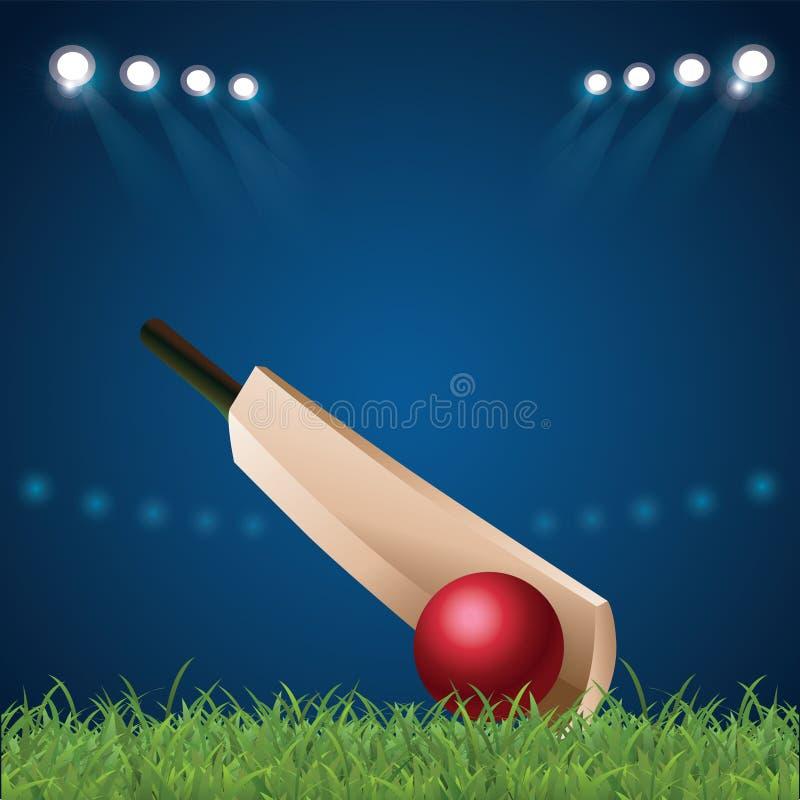 Boule et casque sur le cricket, fond de sports illustration libre de droits